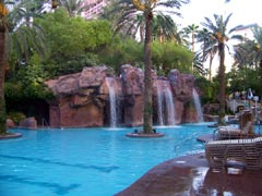 Waterfalls within the pool